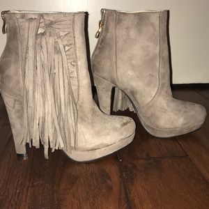 Suede Material Booties with fringe, size 8